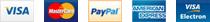 Visa, Mastercard, PayPal, American Express, Electron